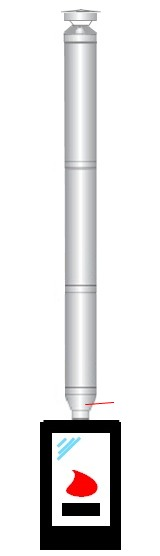 3 m x 100/200 Dn stainless steel insulated chimney